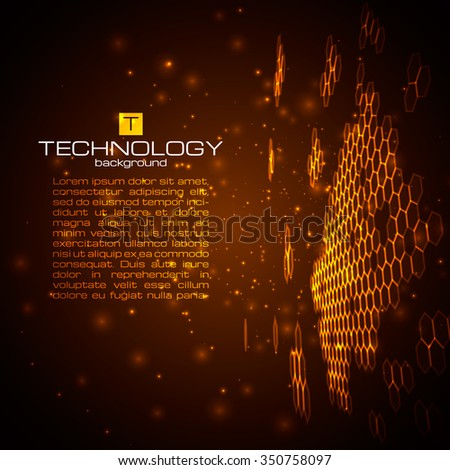 Futuristic digital background. Technology illustration for your business/science/technology artwork. Vector design element. - stock vector