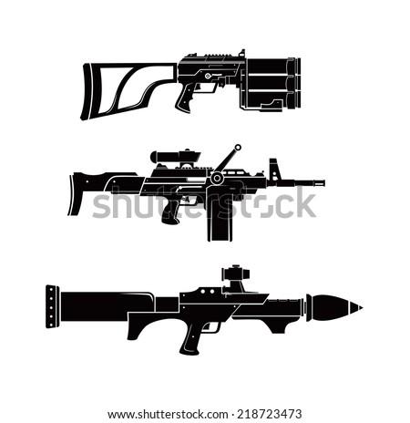 futuristic haevy weapon shilhouette vector - stock vector