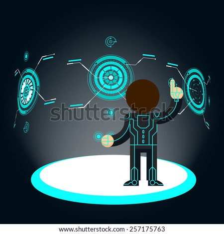 Futuristic interface. Man pushes button. Fantasy and hologram. Vector illustration - stock vector