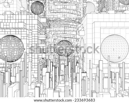 Futuristic Megalopolis City Structure Vector 296 - stock vector