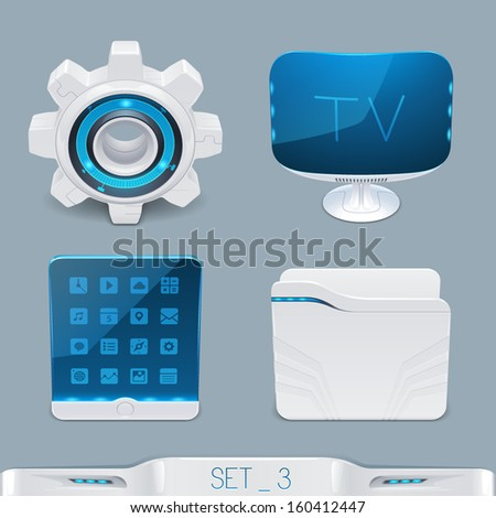 futuristic multimedia devices and technology icon-set 3 - stock vector