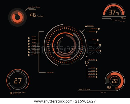 Futuristic orange infographics as head-up display - stock vector