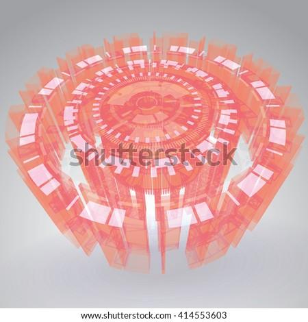 Futuristic Sci-Fi HUD Vector Element - stock vector