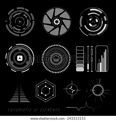 Futuristic sci-fi virtual touch user interface HUD elements - stock vector