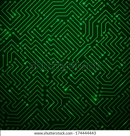 Futuristic Shining Green Technology Background �¢?? Printed Circuit Board Seamless with Pattern in Swatches - stock vector