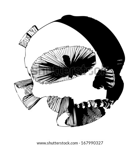 Futuristic skull devil vector - isolated transparent hi-tech head on white background - stock vector
