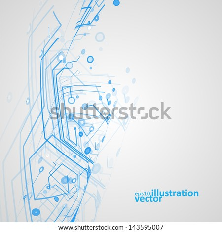 Futuristic technology illustration, circuit board vector background eps10 - stock vector