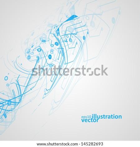 Futuristic technology illustration, circuit board vector background eps10 - stock vector