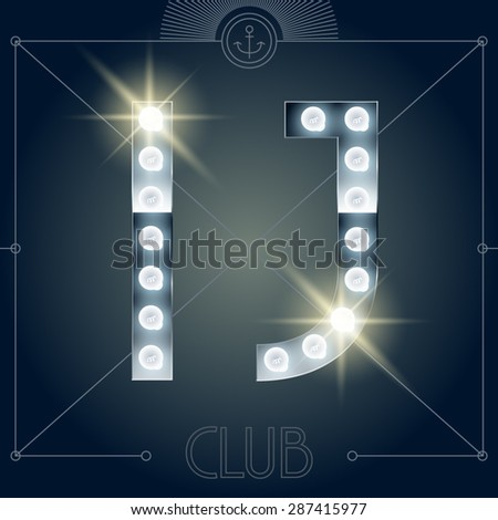 Futuristic vector lamp alphabet on glossy mirror background. Letters I J - stock vector
