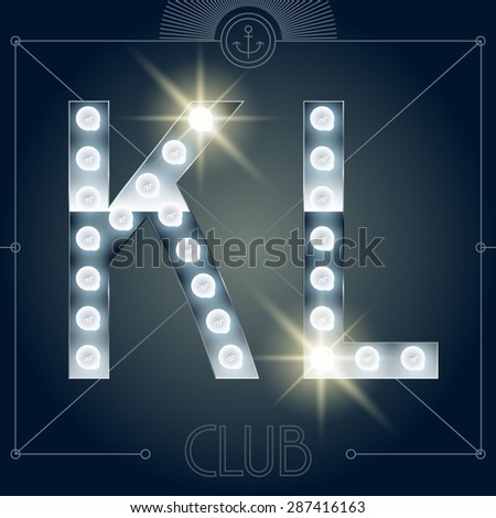 Futuristic vector lamp alphabet on glossy mirror background. Letters K L - stock vector