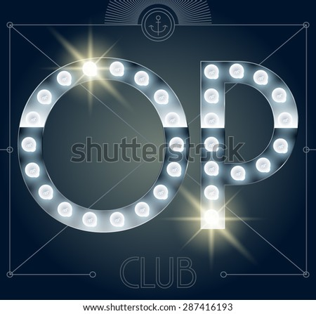 Futuristic vector lamp alphabet on glossy mirror background. Letters O P - stock vector