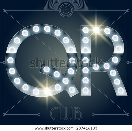 Futuristic vector lamp alphabet on glossy mirror background. Letters Q R - stock vector