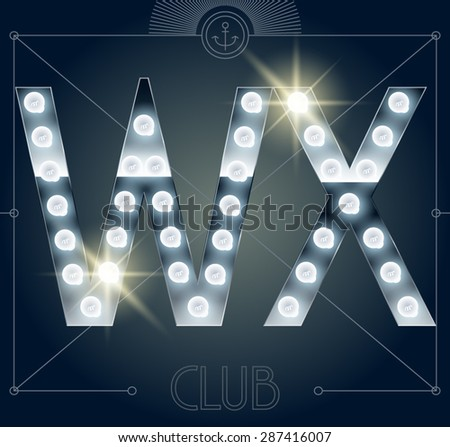 Futuristic vector lamp alphabet on glossy mirror background. Letters W X - stock vector
