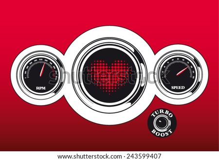 Futuristic vector love dashboard with heart speed and rpm meter - stock vector