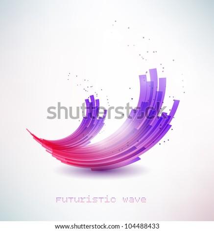 futuristic wave sign - stock vector
