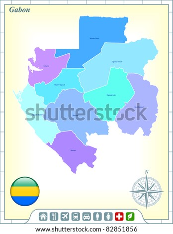Gabon Map with Flag Buttons and Assistance & Activates Icons Original Illustration - stock vector