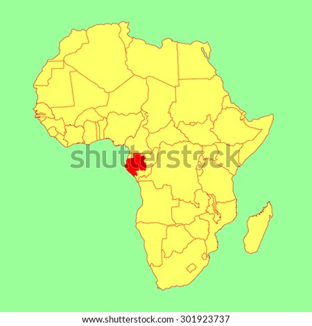 Gabon vector map isolated on Africa map. Editable vector map of Africa. - stock vector