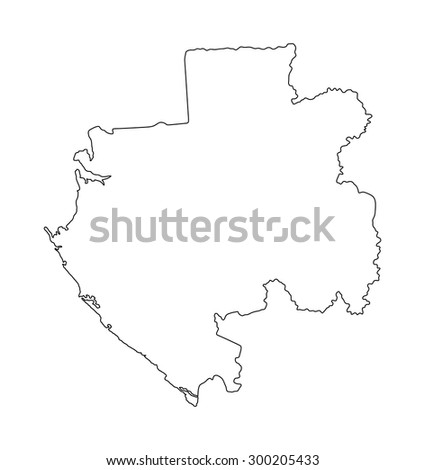 Gabon vector map isolated on white background. High detailed illustration contour of Gabon.  - stock vector
