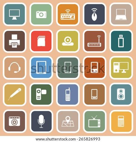 Gadget flat icons on orange background, stock vector - stock vector