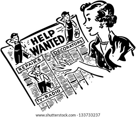 Gal Reading Help Wanted Ads - Retro Clip Art Illustration - stock vector