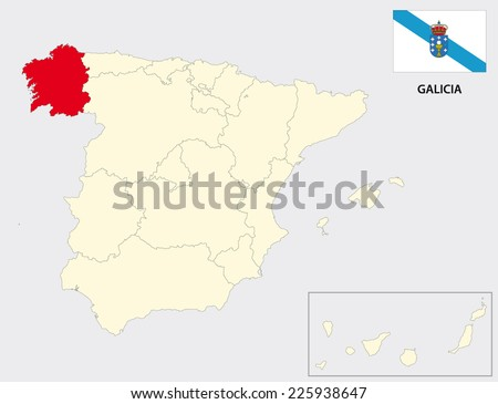 galicia map with flag - stock vector