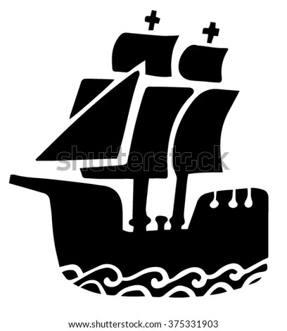 Galleon icon - stock vector