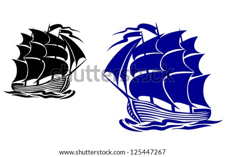 Galleon sail ship in ocean water for travel or another design. Jpeg version also available in gallery - stock vector
