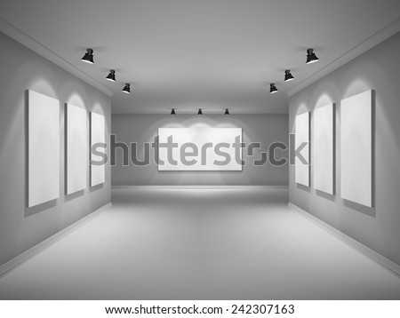 Gallery 3d realistic interior with empty picture frames in spotlights vector illustration - stock vector
