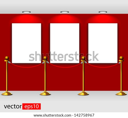 Gallery Interior with empty frames on red wall - stock vector