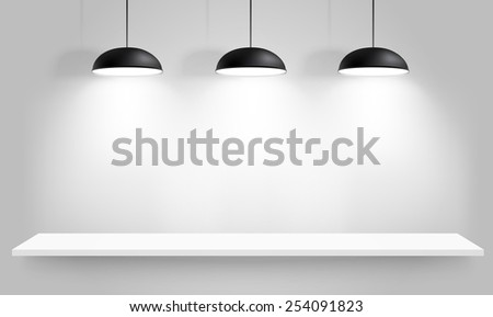 Gallery Interior with three black lamps. Vector illustration - stock vector