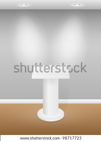 Gallery Interior with white podium. Vector illustration. - stock vector