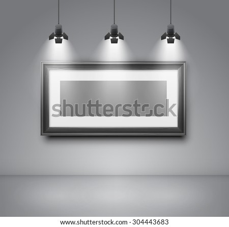 Gallery room gray wall interior with blank frame illuminated with spotlights. Realistic 3d vector illustration - stock vector