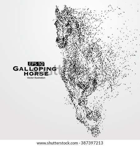 Galloping horse,particles,vector illustration. - stock vector