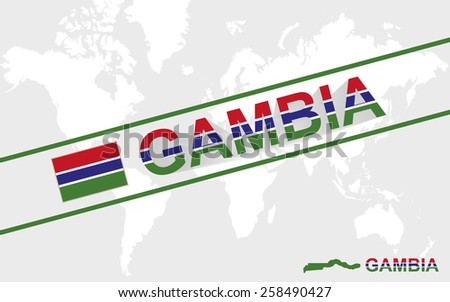 Gambia map flag and text illustration, on world map - stock vector