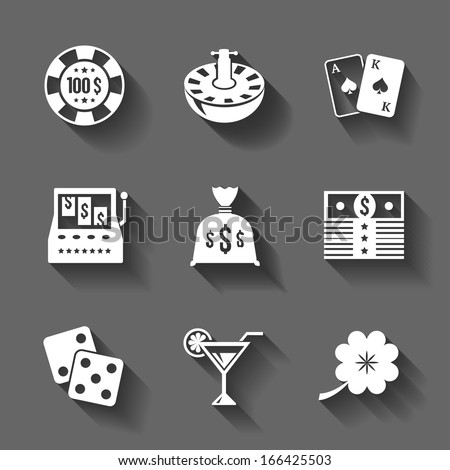 Gambling icons set isolated of chip casino roulette and martini, contrast shadows vector illustration - stock vector