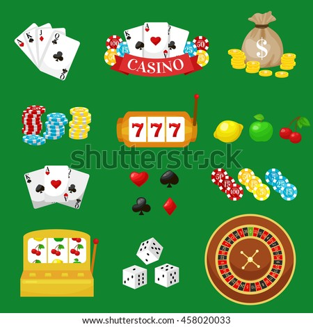 Gambling pictograms set. Deck of cards and casino, playing poker, venturesome game, dice  ace vector illustration - stock vector