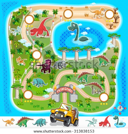 Game Assets Prehistoric Zoo Map Collection Contain Various Exotic Dinosaurs  - stock vector