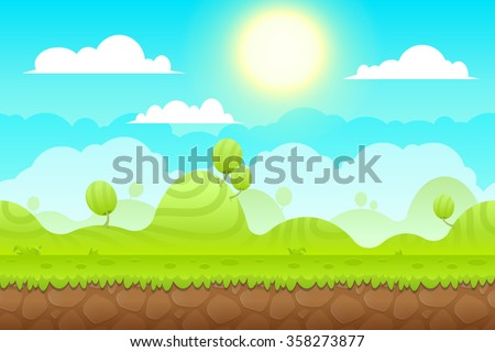 Game Background made from seamless endless elements. Vector assets and layers for mobile games - stock vector