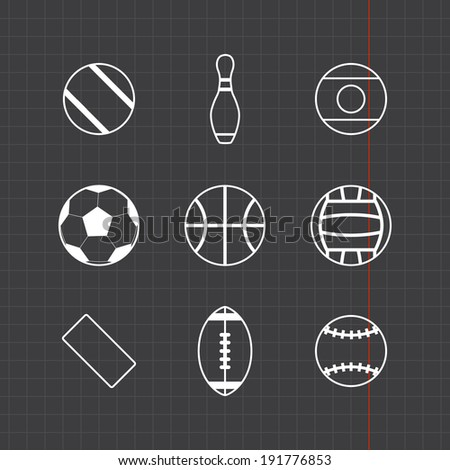 Game balls icons set with black sheet - stock vector