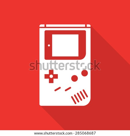 game boy flat icon with long shadow. - stock vector