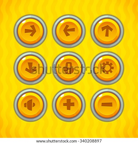 Game Buttons with Icons Set 1. Vector GUI elements for mobile games - stock vector