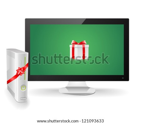 Game console as a christmas gift - stock vector