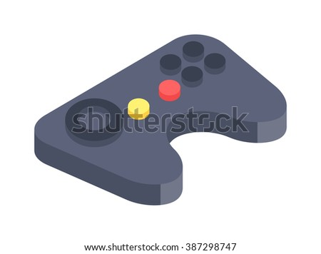 Game console joystick vector illustration. Game console joystick isolated on white background. Game console joystick vector icon illustration. Game console joystick isolated vector silhouette - stock vector