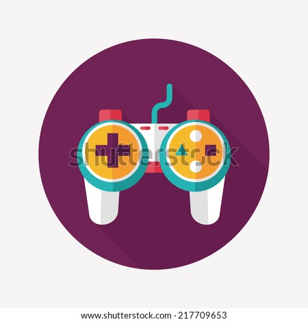 Game controller flat icon with long shadow - stock vector