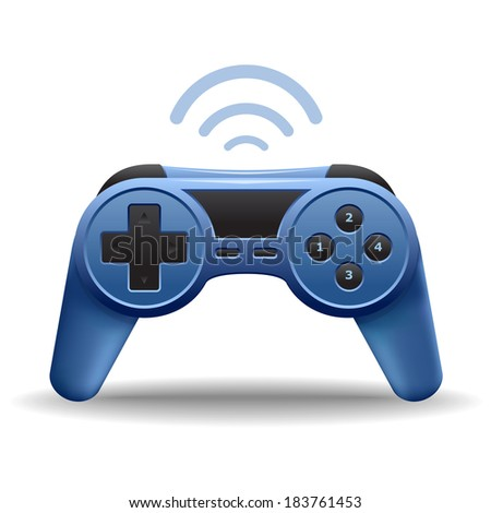 Game controller or game pad wireless for computer and console video games icon isolated on white background. Vector illustration - stock vector
