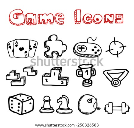 Game Doodle Icons - stock vector