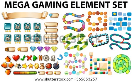 Game elements and template illustration - stock vector