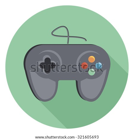 game flat icon in circle - stock vector