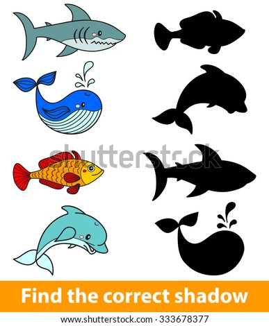 Game for children: find the correct shadow (shark, dolphin, fish, whale). Vector illustration - stock vector