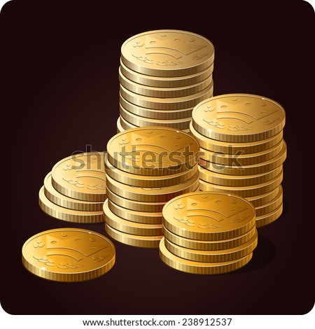 Game icon of gold coins. Vector design for app user interface - stock vector
